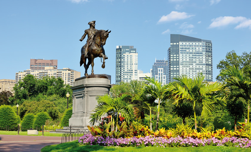 Een standbeeld van George Washington in Boston
